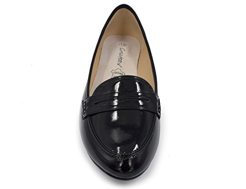 Greatonu Frauen Faux Wildleder Komfort Slip-On Penny Loafer flache Schuhe Schwarzes Patent