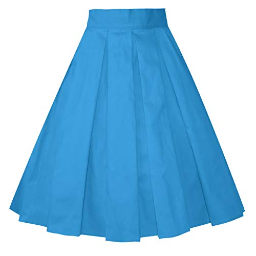 Girstunm Women's Pleated Vintage Skirt Floral Print A-line Midi Skirts with Pockets Blue XX-Large ()