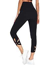 Womens High Waisted Cutout Crop Leggings Yoga Workout Active Tights