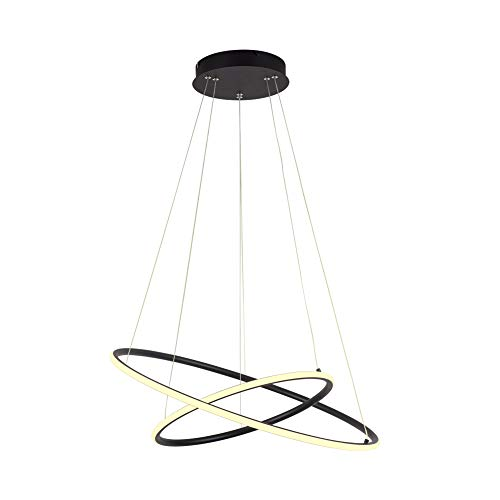 ROYAL PEARL Modern Circular Led Chandelier Adjustable Hanging Light with 2 Rings Contemporary Ceiling Pendant Lighting H47