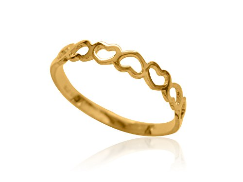 Yellow Gold Kids Ring (Children's 10k Solid Yellow Gold Open Heart Baby Ring Size 3.5)