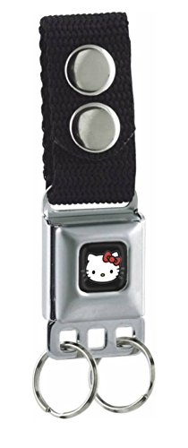 Buckle-Down Keychain - Hello Kitty Face Full Color Black Accessory, -Multi-Colored, One Size (Hello Kitty Key Ring)