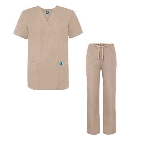 Adar Universal Medical Scrubs Set Medical Uniforms - Unisex Fit - 701 - KKI - L Khaki