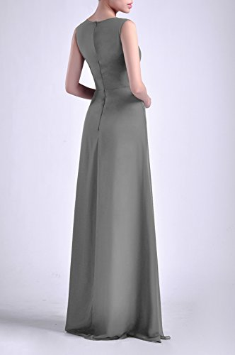 Adorona Chiffon Long Bateau Dress Natrual Straps Sleeveless Sheath Women's Pewter rTqa7wr