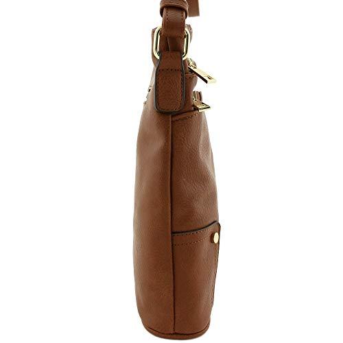 Triple Zip Pocket Large Crossbody Bag Brown