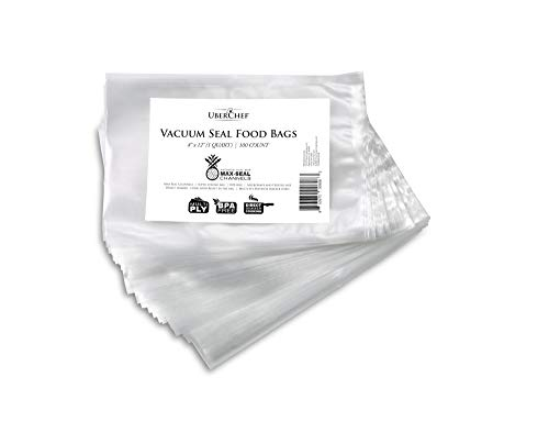 BPA Free Food Storage Bags for Vacuum Sealer - Cross Cut Sealing - Heavy Duty & Airtight - Keeps Food Fresh 5 times longer - Presealed on 3 sides - Freezer Cook In Bag - 1 Pack of 100 Bags (8x12)
