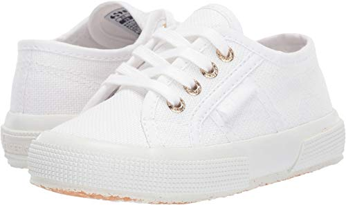Superga Kids Baby Girl's 2750 JCOT Classic (Toddler/Little Kid) White/Gold 31 M EU (Superga Kids Classic Shoe)