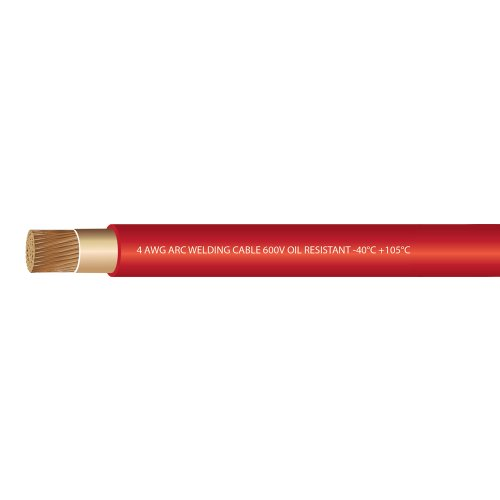 4 Gauge Premium Extra Flexible Welding Cable 600 VOLT - RED 20 FEET- EWCS Branded - Made in the USA!