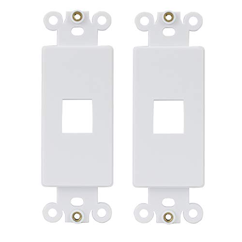 (AllSmartLife QuickPort Decora Wall Plate Insert for 1-Port Keystone Jack - White )