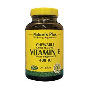 Natures Plus Vitamin E Chewable 400 IU, 90 Vegetarian Tablets Natural Carob Flavor Immune Support Supplement, Promotes Healthy Skin & Eyes, Antioxidant Gluten Free 90 Servings