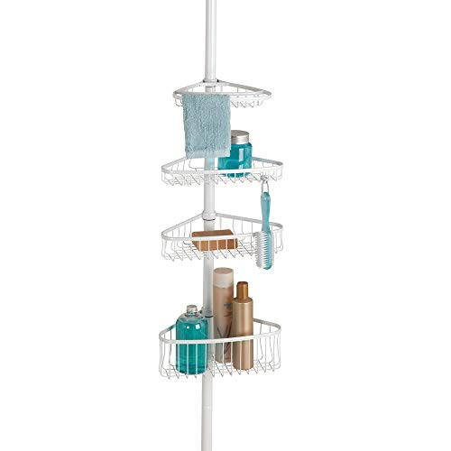 (mDesign Bathroom Shower Storage Constant Tension Corner Pole Caddy - Adjustable Height - 4 Positionable Baskets - for Organizing and Containing Hand Soap, Body Wash, Wash Cloths, Razors - Matte White)