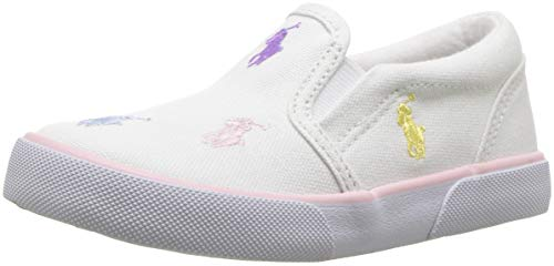 Polo Ralph Lauren Kids Girls' Bal Harbour Repeat Sneaker White Canvas Pastel Multi pop M100 M US Toddler
