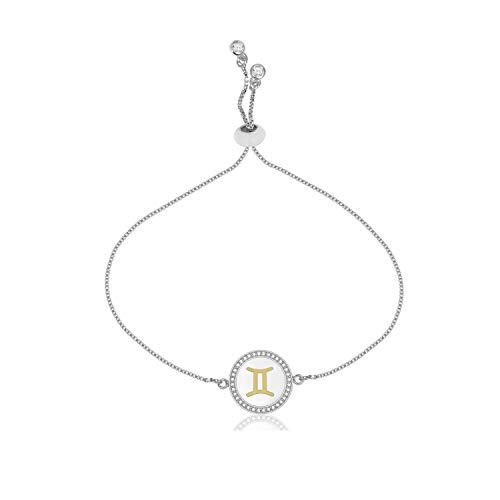 CILILI Horoscope Zodiac 12 Astrology Constellations Shell Rhinestones Disc Charm Snake Chain Bracelet Anklet for Girls Women (Gemini-Large(Silver)) (Best Gift For Gemini Woman)