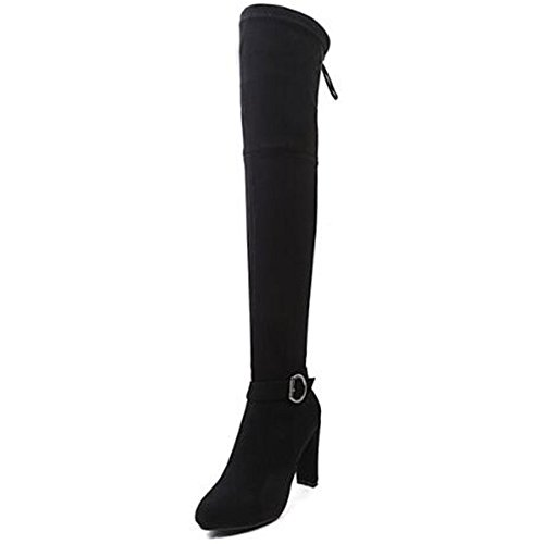 Shoe'N Tale Women Over The Knee Chunky Heel Stretch Thigh High Boots (10 B(M) US, Black-Buckle) (Buckle High Thigh Boot)