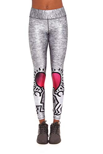 Terez X Keith Haring Printed Tall Band Leggings Grey Split Hearts Large New