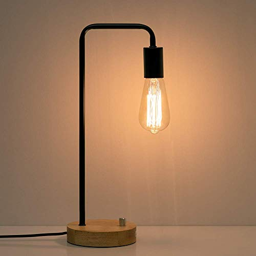 - HAITRAL Industrial Desk Lamp - Wooden Table Reading Lamp for Office, Bedroom, Living Room (Without Bulb)