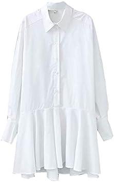 ZCFDD Camisa Blanca para Mujer Mini Vestido Turn Down Collar