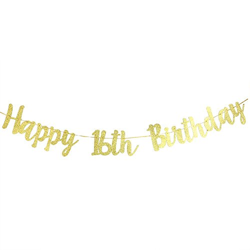 (Karoo Jan Happy 16th Birthday Banner Gold Glitter Hello 16 Hang Bunting Birthday Party Decorations)