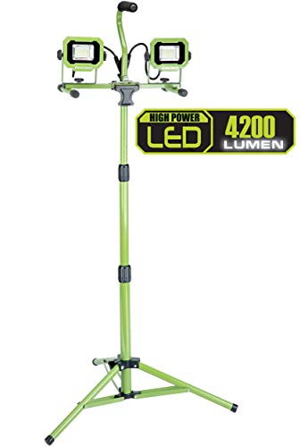 (PowerSmith PWL2042TS 4,200 Lumen Dual Head LED Work Light with Adjustabel Metal Telescoping Tripod and 9ft Power Cord, Green)