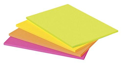 Post-It 6845-SSP Super Sticky Meeting Notes (4 Blöcke à 45 Blatt, 203 x 152 mm) neongrün/orange/ultrapink/gelb