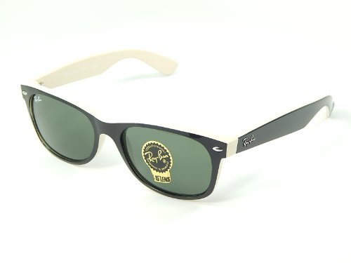 New Ray Ban RB2132 875 Black on Beige Frame/Crystal Green 52mm - New Wafarer