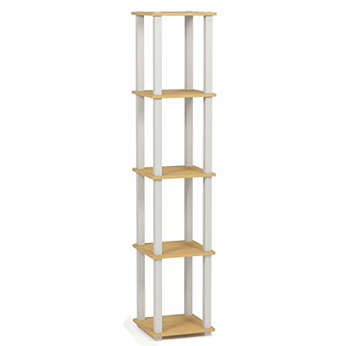 Beech Bookcase - Furinno 18026BE/WH Turn-S 5-Tier Compact Multipurpose Shelf with Square Tubes, Beech/White