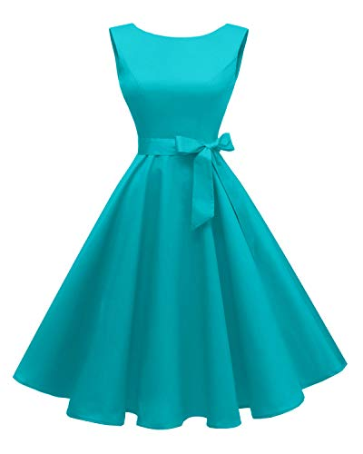 Hanpceirs Women's Boatneck Sleeveless Swing Vintage 1950s Cocktail Dress Turquoise 2X]()