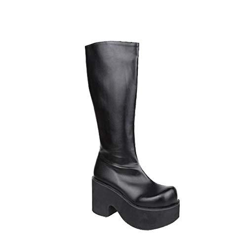 PINGXIANNV Harajuku Großen Kopf Schuhe Schuhe Schuhe Punk Hohe Stiefel Lolita Dicken Boden Kuchen Reißverschluss Königin Stiefel 290a3e