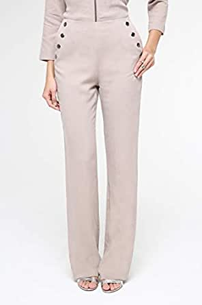 TruEagle Classic Wide Straight Trousers for Women, Beige