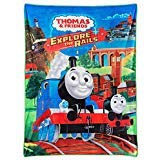 (Thomas The Tank and Friends, EXPLORES The Rails, Thomas Traveling with Friends, Silky to The Touch, Ultra Soft, Blue. Multicolored, Trains, Throw Blanket 46