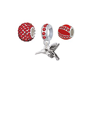 Small 3-D Hummingbird - Sparkle Red Charm Beads (Set of (Renewal Starter Kit)