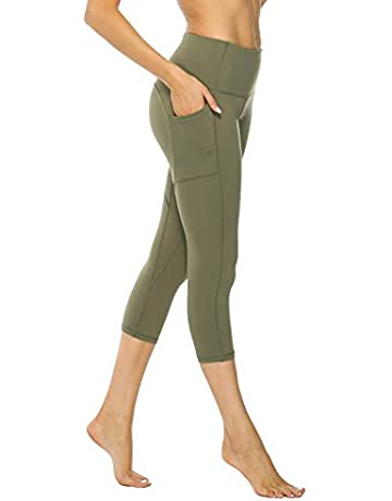 120182f134b865 AFITNE Women's High Waist Yoga Capri Leggings with Side Pockets, Tummy  Control Workout Squat-