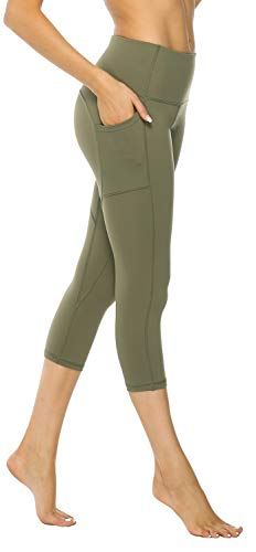 AFITNE Yoga Pants for Women High Waisted Capri Leggings Tummy Control Athletic Workout Leggings with Pockets Gym Army Green - L ()