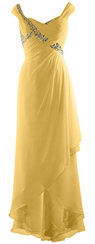 High Maxi Dress Formal Chiffon MACloth Bride Low Elegant Canary V Neck of Mother Gown FF4ztq