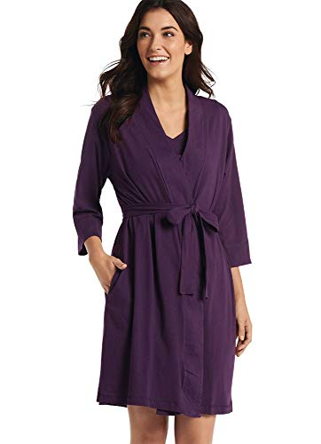 Jockey Women's Sleepwear 100% Cotton Robe, Eggplant, M