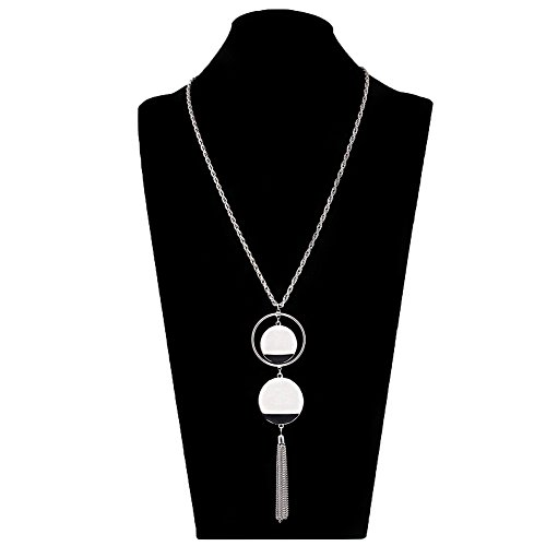 - ALEXY Women's Double Disc Pendant Necklace with Hoop Surrounded Y Lariat Long Twist Chain Tassel Necklace (Silver)