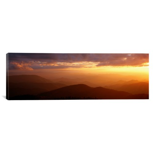 iCanvasART Sunset at Blue Ridge Parkway, Great Smoky Mountains, North Carolina by Panoramic Images Canvas Art Print, 60 by 20-Inch from iCanvasART