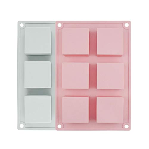- Chokov Silicone Soap Mold, 2pcs 6-Cavity Square Baking Molds for Soaps, Ice Cubes, Jelly, Candy, Cupcake Baking Home Kitchen Supplies