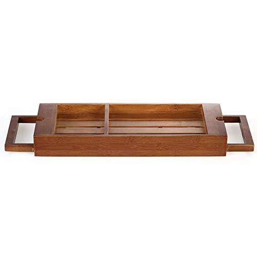 NANFENG Bandeja De La Bañera, Ajustable Bambú Carrito De Baño Multifuncional Portavasos De Vino Mesa De Baño para Marco De Libro De Tableta, ...