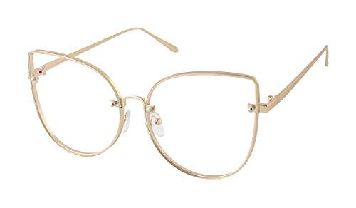[G&B Women's Cat Eye Metal Frame over size Clear Lens Sunglass] (Clear Cat Eye Glasses)
