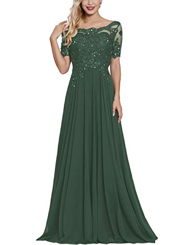 Petite Mother Bride Dress with Short Sleeves Long Maxi Formal Evening Party Gown for Women Emerald Green