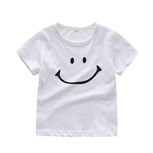 - Luonita 0-24M Infant Newborn Unisex Baby Boys Girl Simple Smile Pattern Round Neck Shirt Tops Tee White