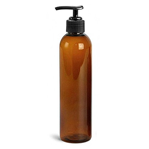 Royal Massage Empty Massage Oil Bottle with Pump, 8 Ounce , Amber