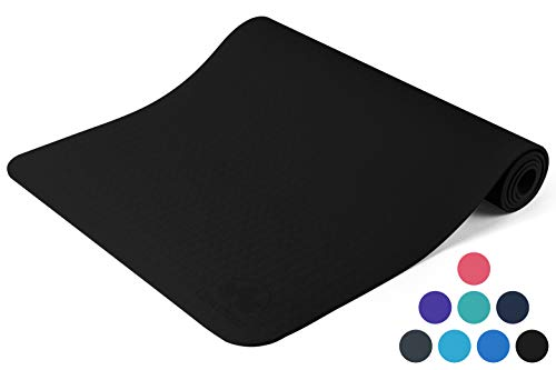 """Clever Yoga Mat BetterGrip Eco-Friendly with The Best Non-Slip and Durable TPE 6mm or 1/4 inch Thick - Comes with Our Special """"Namaste"""" (Black)"""