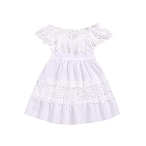 Costume Puerto Rico (Toddler Baby Girl Lace Princess Dress Off Shoulder Lace Ruffle Party Sundress Girl Flowers Halter Beach Dress Size 5-6 Years/Tag120)