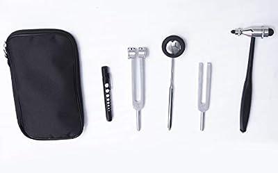 RealStar Diagnostic Kit Tromner and Babinski 2 Neurological Reflex Hammers. 2 Tuning Forks 512Hz and 128Hz, and Medical Pen Light with Pupil Gauge