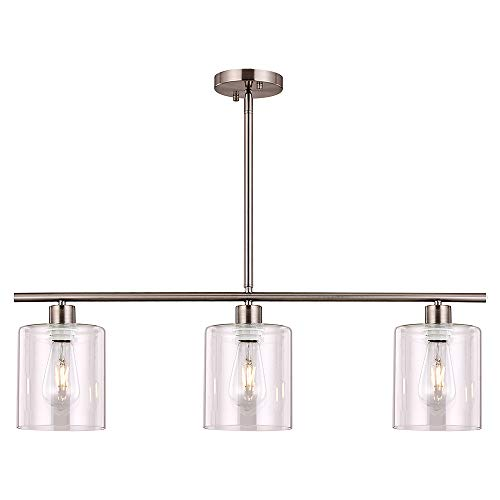 XILICON Pendant Chandelier Light Fixture Hanging Dining Room Lighting Brushed Nickel 3 Light Modern Kitchen Island with…