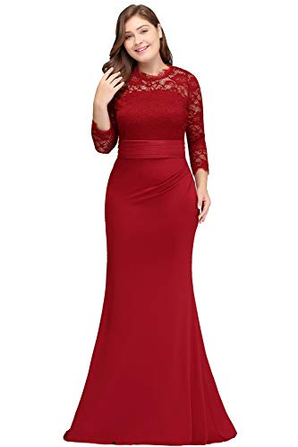(Women Mermaid Wedding Guest Dress with Sleeve Red 20W)
