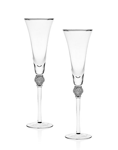 Godinger Platinum Diamond Pave Flute Glasses, Set of 2 (Glass Platinum Champagne)