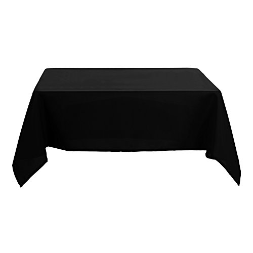 Deconovo Solid Oxford Decorative Square Water Resistant Tablecloth For Dining Room, 54x54-inch, - Solid Square Black